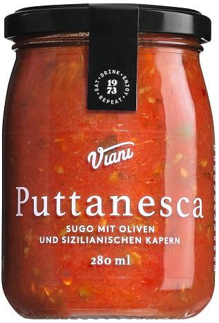Sugo Puttanesca Tomatensauce mit Oliven und Kapern, 280 g Viani